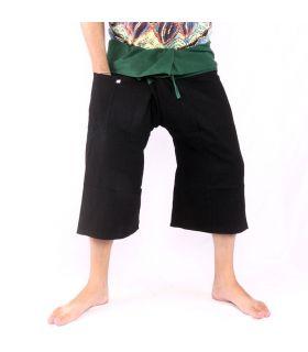 Pantalones de pescador tailandeses - bicolor - algodón negro, verde oscuro