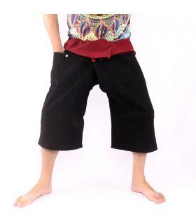 3/5 pantalones de pescador tailandés - dos tonos - algodón negro rojo oscuro