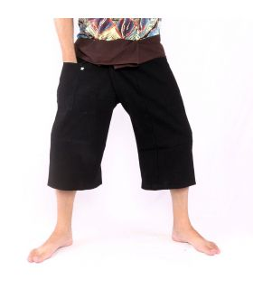 Pantalon de pêcheur thaïlandais court - bicolore - coton noir brun