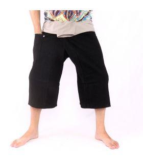 3/5 Pantalones de pescador tailandés - dos tonos - algodón negro gris