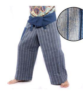Thai fisherman pants hand woven - natural colors indigo striped