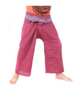 Pantalones de pescador tailandés con borde estampado - algodón - rojo oscuro