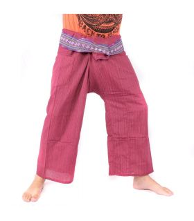Thai fisherman pants with pattern border - cotton - dark red