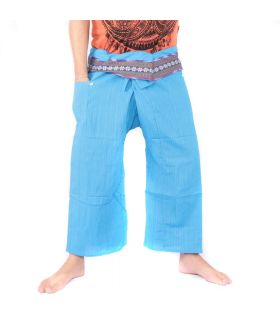 Thai fisherman pants with pattern border - cotton - light blue