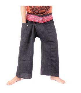 Pantalon de pêcheur thaïlandais avec tresse à motifs - coton - noir