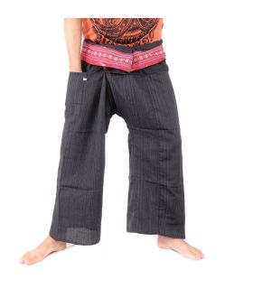 Thai fisherman pants with pattern braid - cotton - black