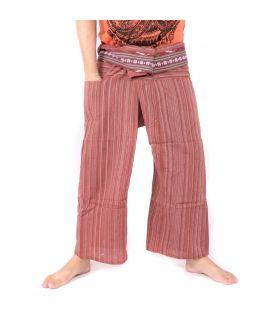 Thai fisherman pants with pattern braid - cotton - red brown