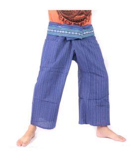 Pantalon de pêcheur thaïlandais avec tresse à motifs - coton - bleu