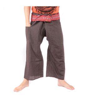 Pantalon de pêcheur thaïlandais avec tresse à motifs - coton - brun foncé