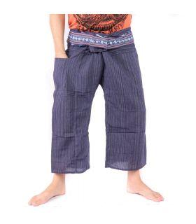 Pantalon de pêcheur thaïlandais avec tresse à motifs - coton - bleu foncé