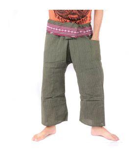 Pantalon de pêche thaïlandais avec tresse à motifs - coton - olive