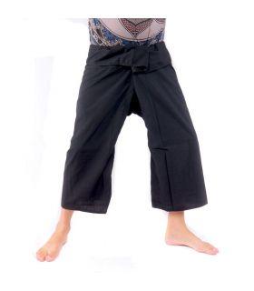 Pantalones de pescador tailandés - viscosa negra