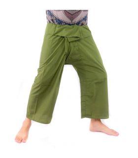 Pantalon de pêche thaïlandais - vert olive foncé