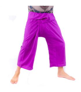Pantalones de pescador tailandeses de viscosa - púrpura
