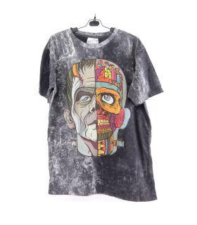 """""""No Time"""" T-Shirt Frankenstein Size M Stonewashed"""