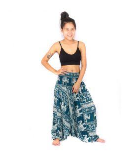 Combinaison pantalon sarouel, grenouillère, combinaison, grenouillère éléphants turquoise.