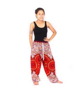 Pantalones de harén Mandala rojo