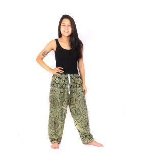 Pantalones de harén verde Mandala
