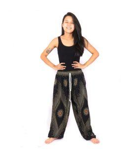 Pantalon sarouel paon noir