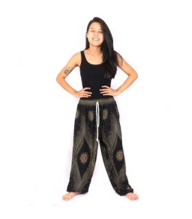 Pantalones de harén negro pavo real