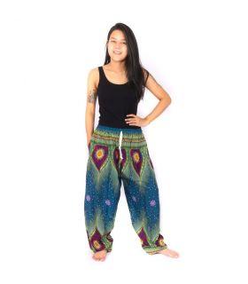 Pantalones de harén azul pavo real