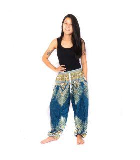 Pantalon sarouel plume cachemire bleu