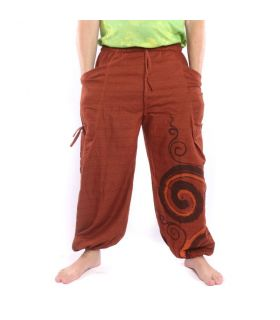 Harem pants for tying Spiral design in heavy cotton
