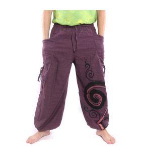Pantalones de harén para atar Diseño en espiral en algodón pesado