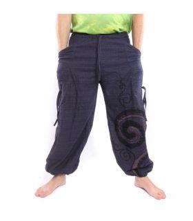 Pantalones hippie tailandeses para atar Diseño en espiral hecho de algodón pesado
