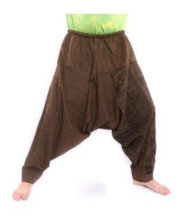ॐ pantalon de harem avec symboles sanskrits mélange de coton brun