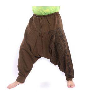 ॐ harem pants with Sanskrit symbols cotton mix brown