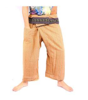 Pantalon de pêcheur thaïlandais avec bordure à motif d'éléphant - coton - jaune ocre