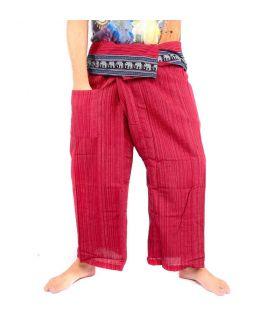 Pantalones de pescador tailandeses con borde en forma de elefante rojo