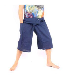 Pantalon de pêcheur thaïlandais - court bleu foncé - coton