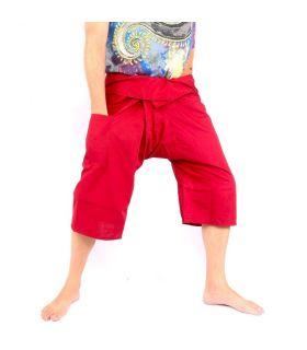 3/4 Pantalon de pêcheur thaïlandais en viscose rouge foncé