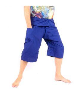 Toolee San San Sii Faa 3/4 Thai Fisherman Pants Blue