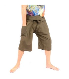 3/4 Pantalones de pesca tailandeses de viscosa verde oscuro
