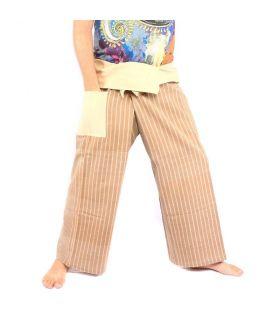 Pantalones de pescador tailandeses tejidos a mano - colores minerales