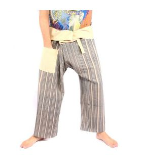 Pantalones de pescador tejidos a mano - colores minerales