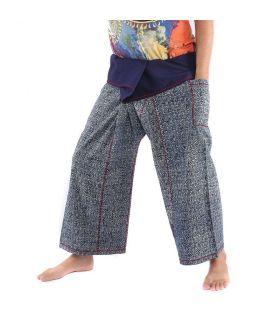 Pantalon de pêcheur thaïlandais de Chiang Mai, coton lourd imprimé indigo