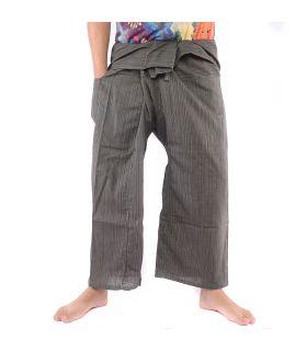 Pantalon de pêcheur thaïlandais - coton mélangé - gris