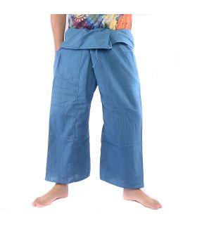 Pantalon de pêcheur thaïlandais - coton mélangé - bleu clair