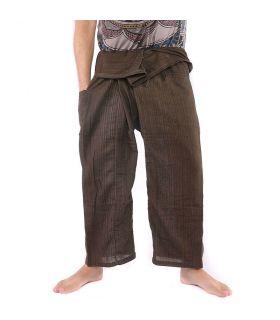 Pantalon de pêcheur thaïlandais - mélange de coton - brun