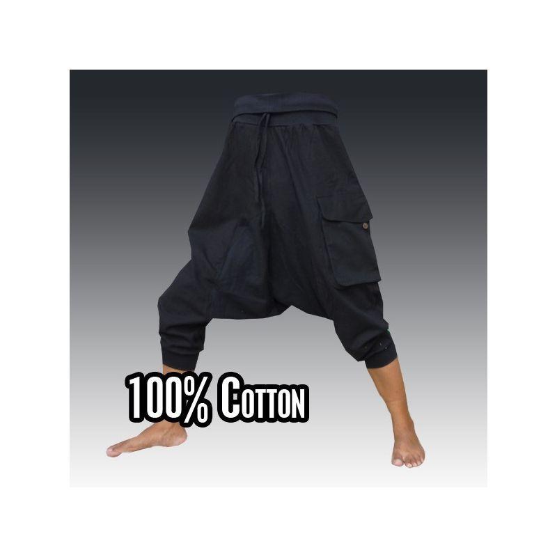 3/5 Aladinhose - schwarz mit großer Seitentasche