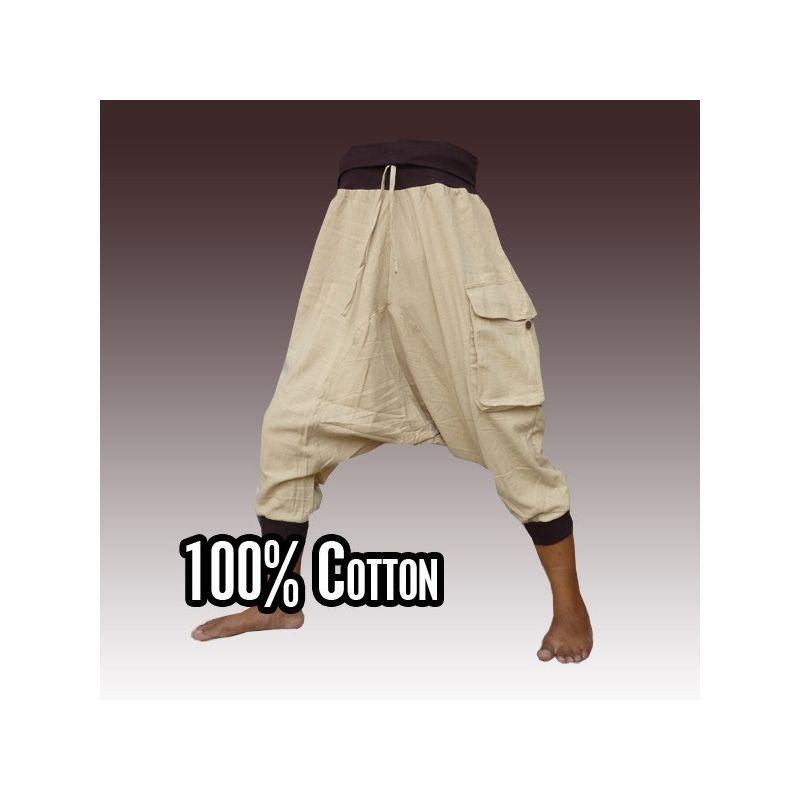 3/5 harem - crema con bolsillos laterales grandes