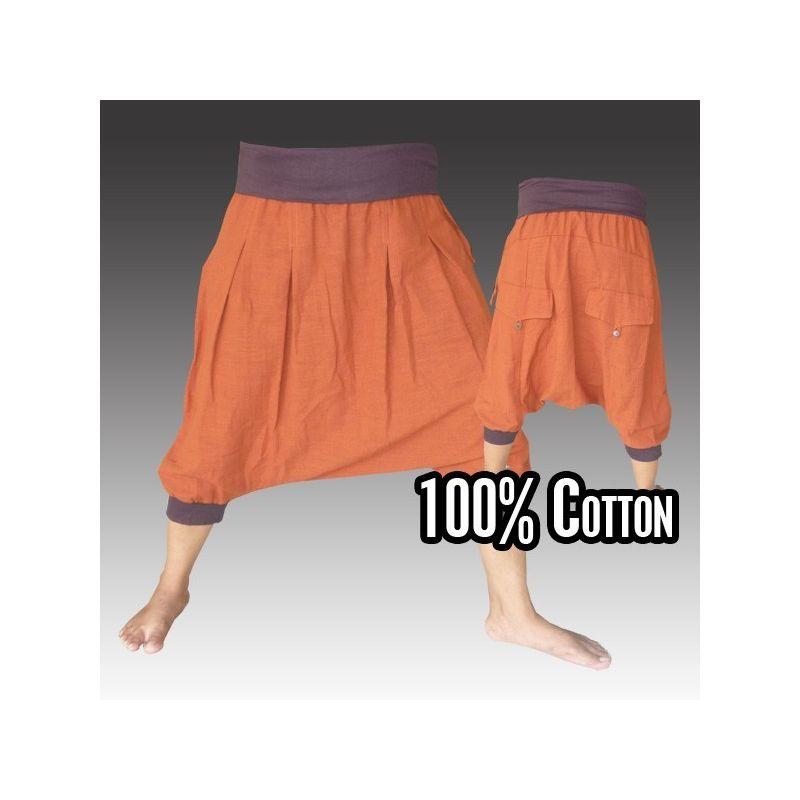 3/4 Aladdin pants - Pisett orange with 2 pot pockets