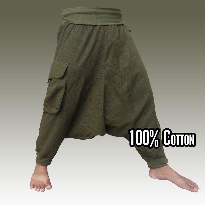 Pantalones Aladdin 3/5 - Pisett verde oliva con bolsillo lateral grande