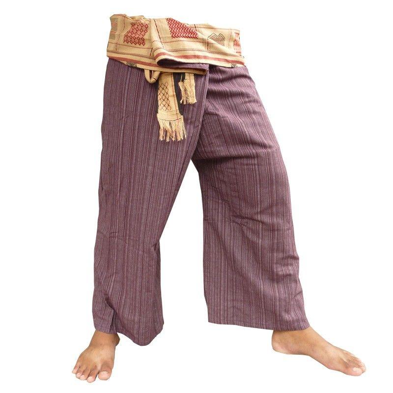 Thai pantalones de algodón mezcla con woven trim