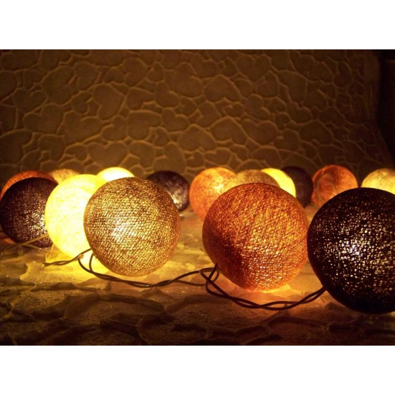 Lichterkette aus echten Baumwollkugeln, Handarbeit Choko