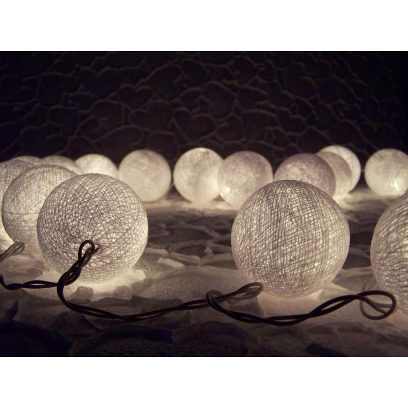 Christmas lights made of cotton balls, white